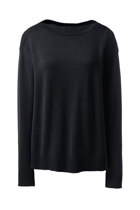 Women's Cotton Modal Rib Trimmed Boatneck Sweater