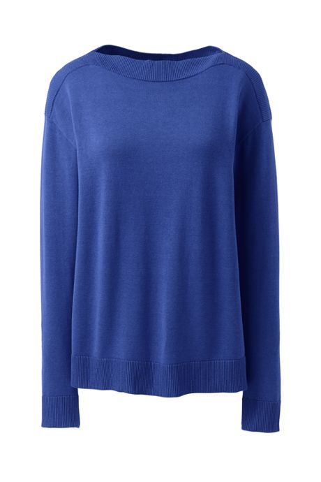 Women's Plus Size Cotton Modal Rib Trimmed Boatneck Sweater