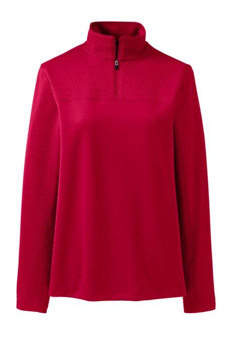 Women's Plus Size Textured Quarter Zip Pullover