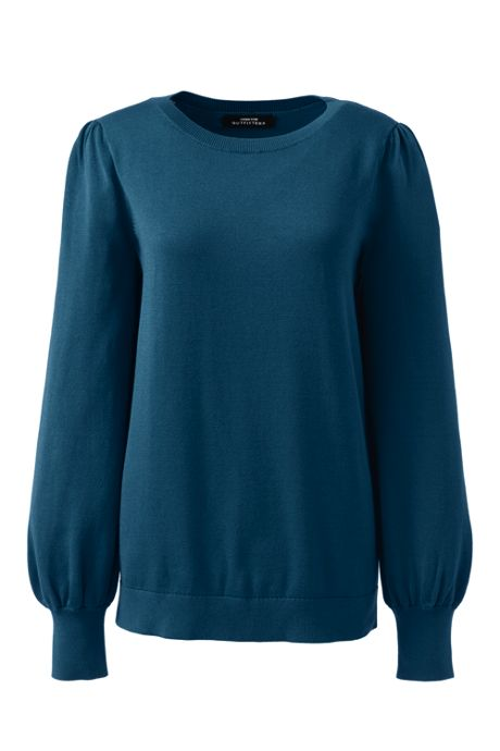 Women's Cotton Modal Blouson Sleeve Sweater