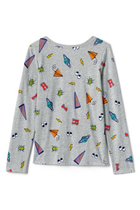 Little Girls Long Sleeve Pattern Tee Shirt