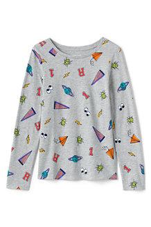 T-Shirt en Coton à Manches Longues et Motifs, Fille