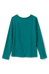 Girls Plus Size Long Sleeve Solid Tee Shirt, Back