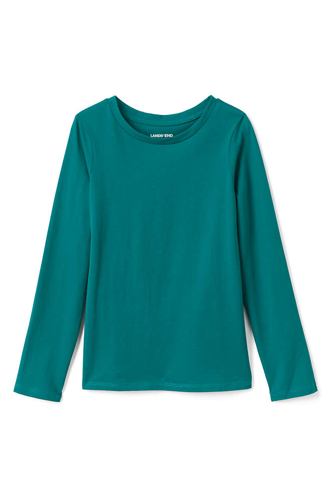 Girls Plus Size Long Sleeve Solid Tee Shirt, Front