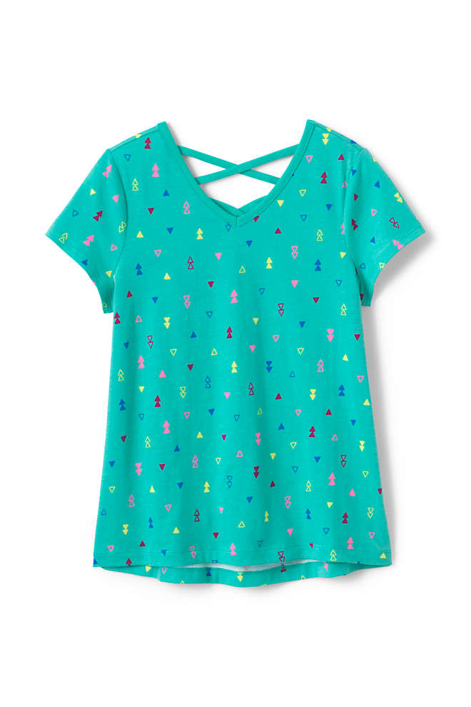 Girls Plus Size Lattice Back Tee Shirt, Front