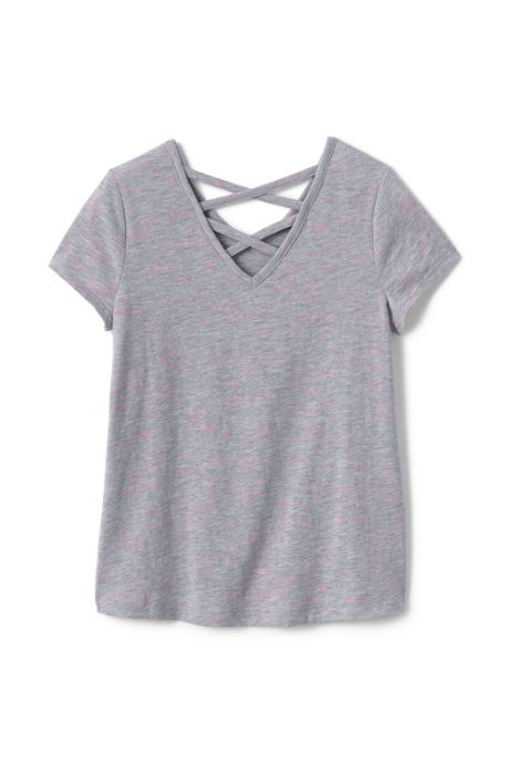 Girls Plus Size Lattice Back Tee Shirt