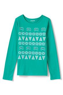 Grafik-Shirt Langarm für Mädchen