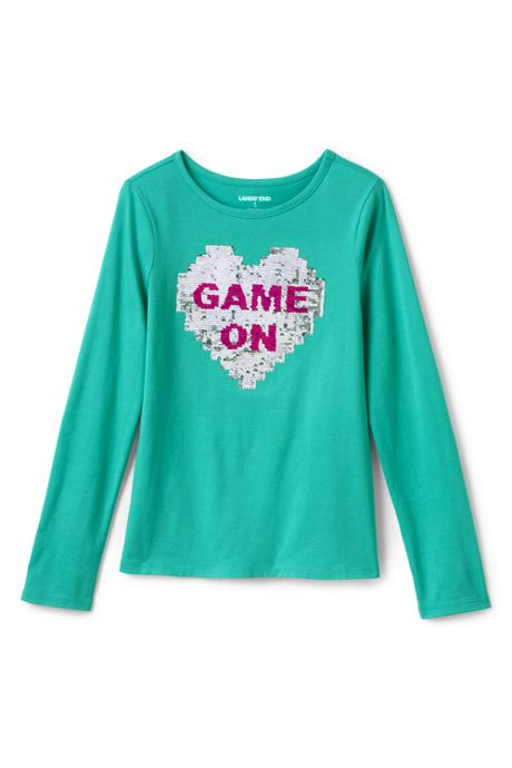Little Girls Flip Sequin Graphic Tee Shirt