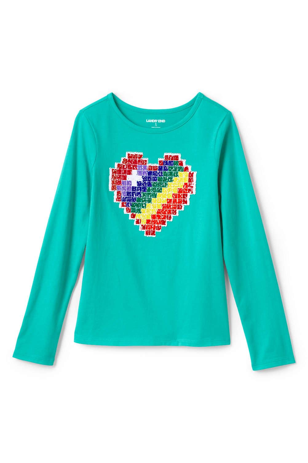 63265e961d77 Girls Flip Sequin Graphic Tee Shirt from Lands' End