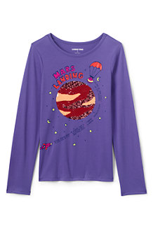 Girls' Long Sleeve T-shirt with Flip Sequin Motif