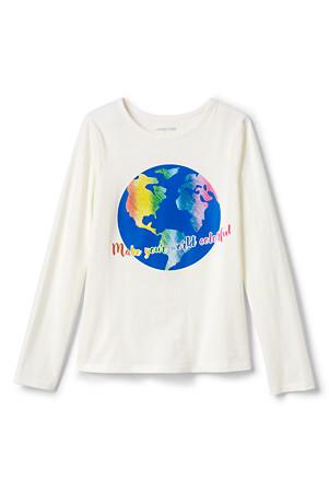 best service 3d1c0 a7ee4 Langarm-Shirt mit Print für Mädchen | Lands' End
