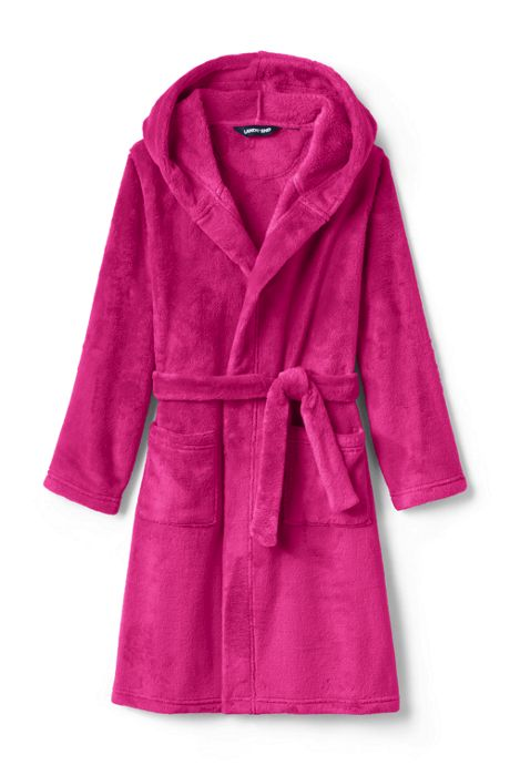 Toddler Kids Hooded Fleece Solid Robe