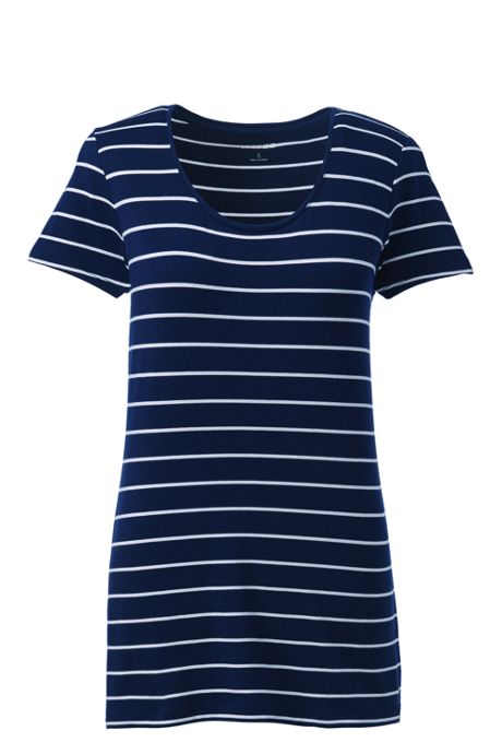 Women's Tall Short Sleeve Shaped Layering Scoop Neck T-Shirt Stripe