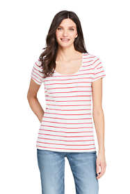 Women's Petite Short Sleeve Fitted Scoop Neck T-shirt Stripe