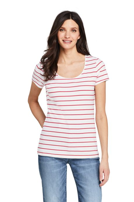 Women's Petite Short Sleeve Shaped Layering Scoop Neck T-Shirt Stripe