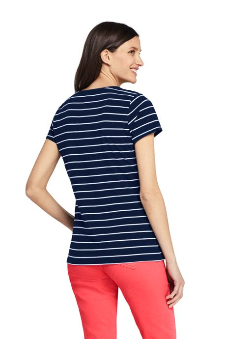 Women's Short Sleeve Shaped Layering Crewneck T-Shirt Stripe