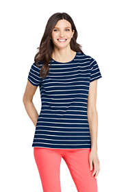 Women's Petite Short Sleeve Shaped Layering Crewneck T-Shirt Stripe