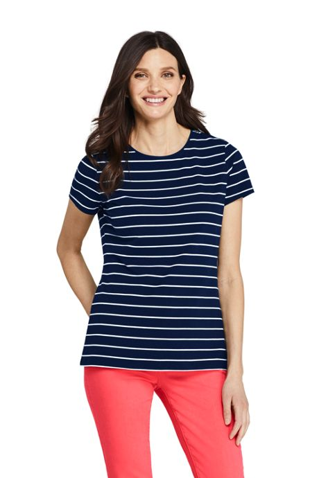 Women's Tall Short Sleeve Shaped Layering Crewneck T-Shirt Stripe