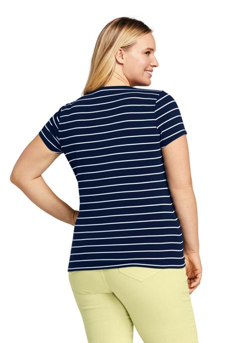 Women's Plus Size Short Sleeve Fitted Scoop Neck T-shirt Stripe