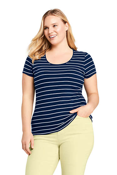 31839e405 Women's Plus Size Short Sleeve Shaped Layering Scoop Neck T-Shirt Stripe  from Lands' End
