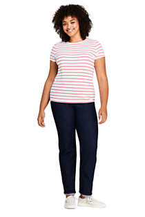 Women's Plus Size Short Sleeve Shaped Layering Crewneck T-Shirt Stripe, Unknown