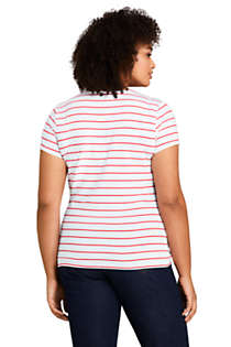 Women's Plus Size Short Sleeve Shaped Layering Crewneck T-Shirt Stripe, Back