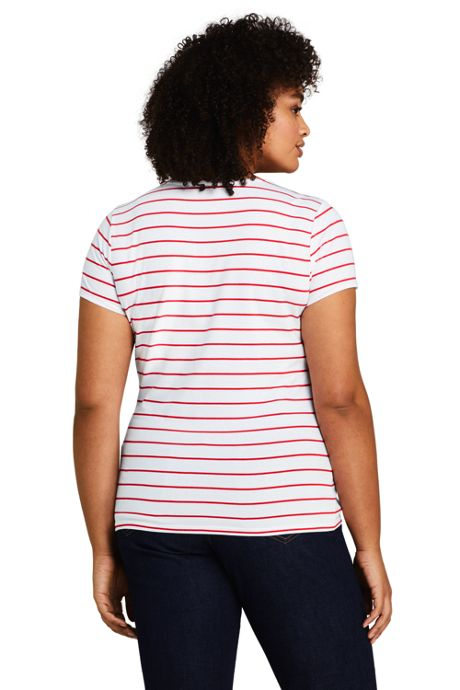 Women's Plus Size Short Sleeve Shaped Layering Crewneck T-Shirt Stripe