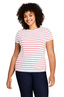 Women's Plus Size Short Sleeve Shaped Layering Crewneck T-Shirt Stripe, Front