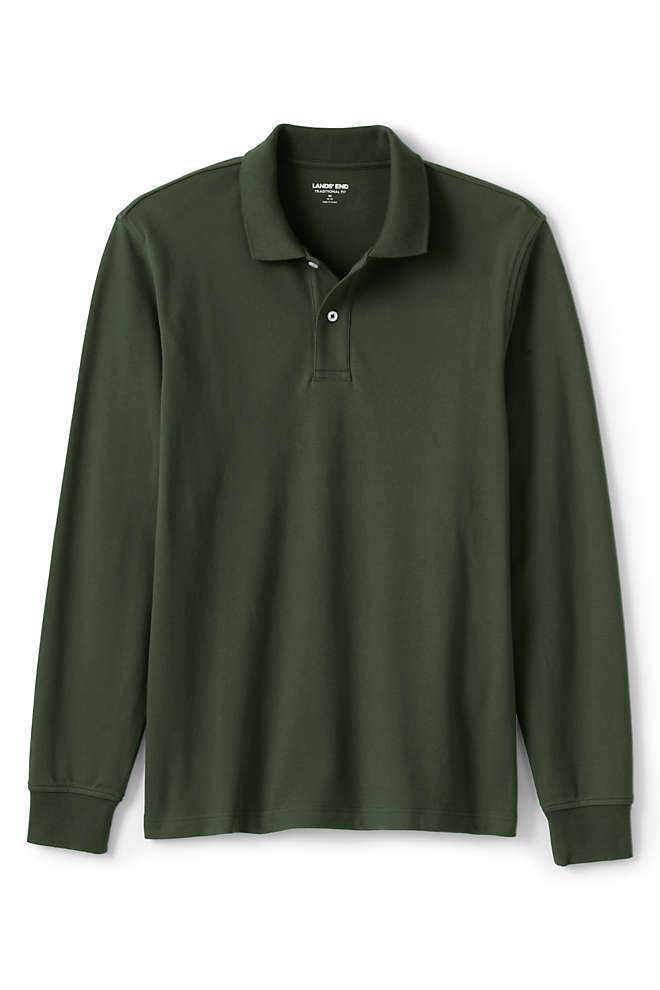 Men's Big and Tall Comfort First Long Sleeve Solid Mesh Polo, Front