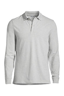 Men's Long Sleeve Stretch Piqué Polo Shirt, Traditional Fit