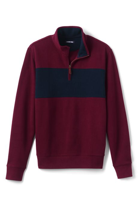 Men's Blocked Bedford Rib Quarter Zip Sweater