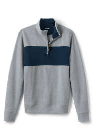 Men's Tall Blocked Bedford Rib Quarter Zip Sweater