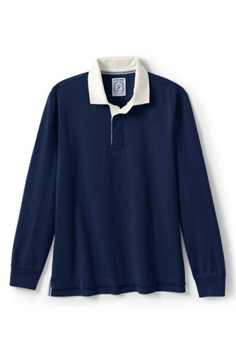 Men's Long Sleeve Solid Rugby by Lands' End