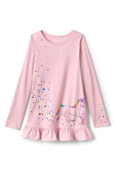 Girls Plus Size Long Sleeve Graphic Tunic Top