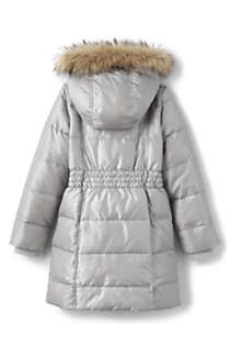Girls Winter Fleece Lined Down Alternative ThermoPlume Coat, Back