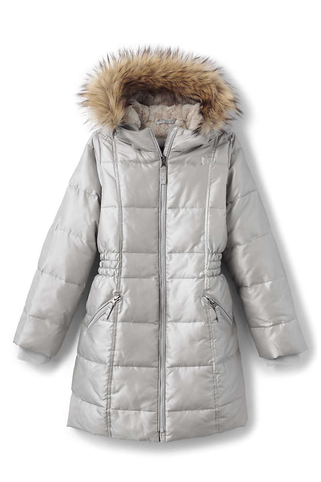 Girls Winter Fleece Lined Down Alternative ThermoPlume Coat, Front