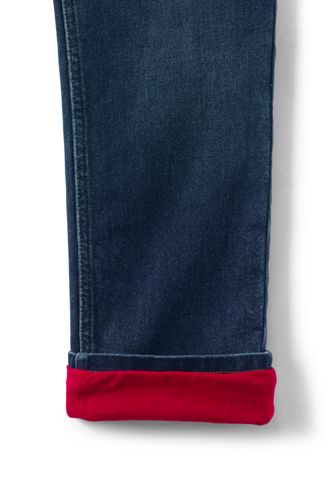 Boys Husky Lined Iron Knee Stretch Pull On Jeans