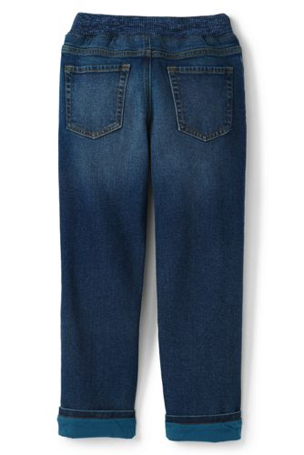 Boys Lined Iron Knee Stretch Pull On Jeans