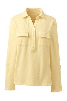 Shirt mit Polokragen aus Leinenmix für Damen