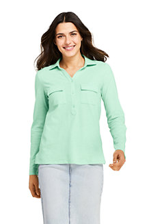 Women's Polo Shirt with Roll Sleeves and Pockets