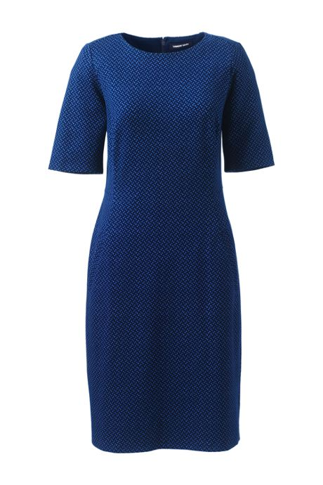 Women's Elbow Sleeve Print Ponte Sheath Dress