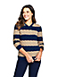 Women's Striped Cotton Cable V-neck Drifter Jumper