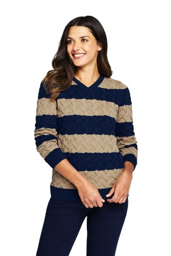 Pull Drifter Pur Coton Col V Rayé, Femme Stature Standard
