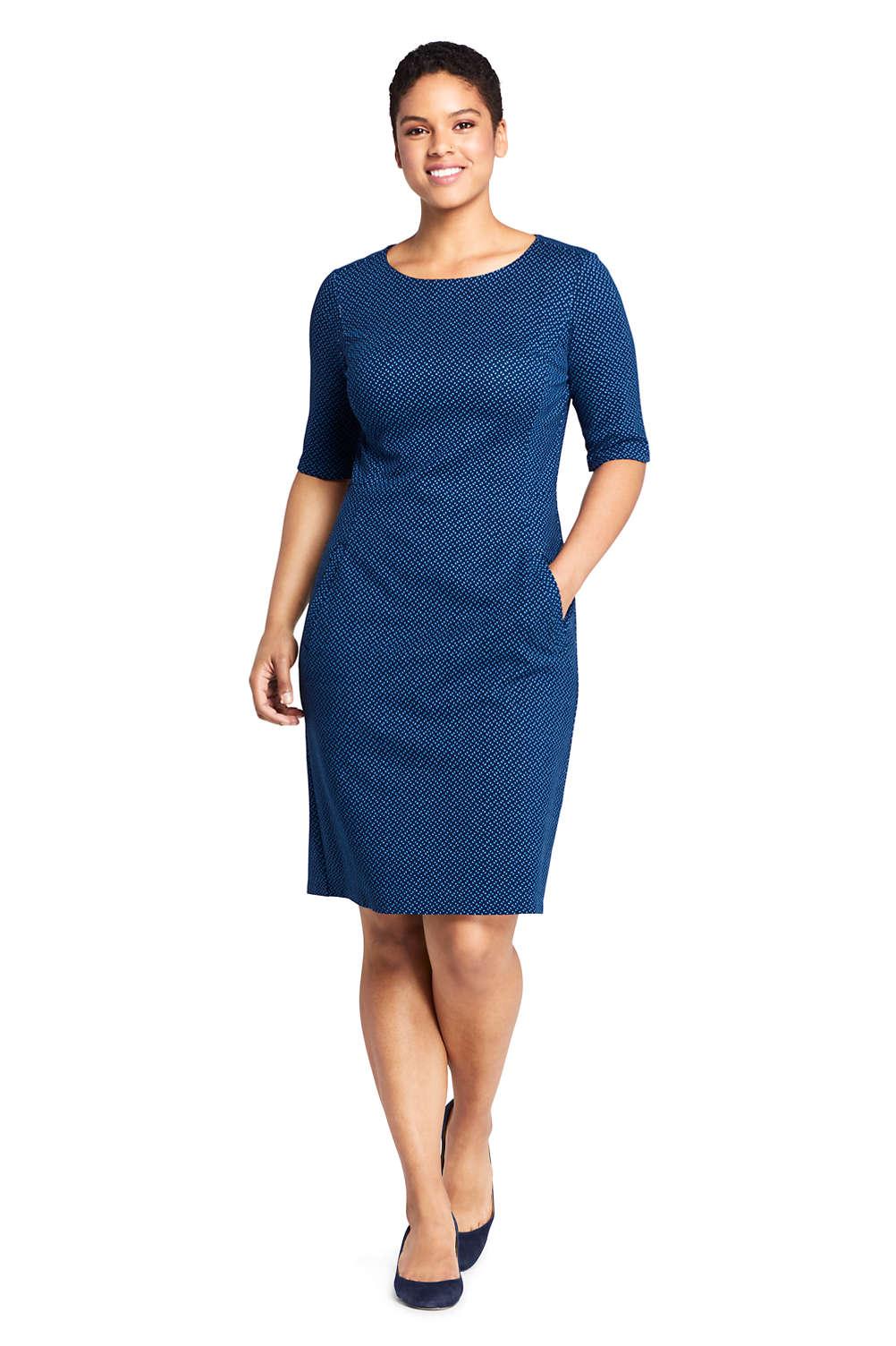 Women\'s Plus Size Elbow Sleeve Print Ponte Sheath Dress