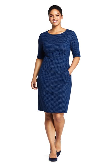 Women's Plus Size Elbow Sleeve Print Ponte Sheath Dress