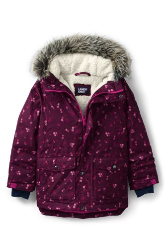Red Girls Winter Warm Dress Coat Toddler Parka Trimmed With Faux Fur Outwear