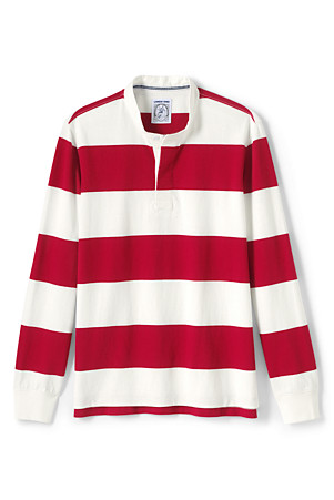 Men S Rugby Shirt With Grandad Collar Lands End