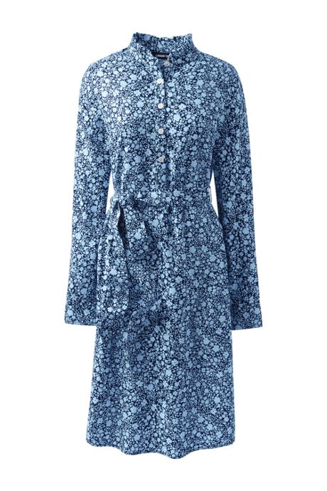 Women's Petite Long Sleeve Woven Shirt Dress - Print