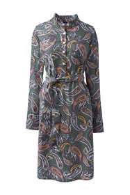 Women's Plus Size Long Sleeve Woven Shirt Dress - Print