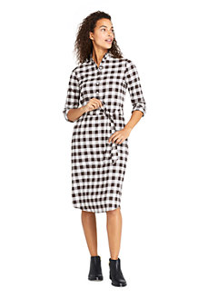 Women's Check Ruffle Collar Dress